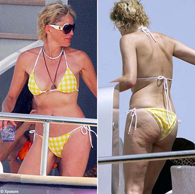 Sharon stone takes time out on the boat of roberto cavalli